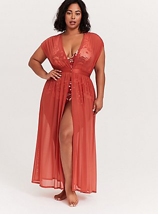 Dusty Red Mesh Maxi Dress Swim Cover Up, DUSTY ROSES, alternate