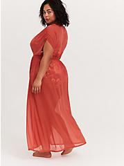 Plus Size Dusty Red Mesh Maxi Dress Swim Cover Up, DUSTY ROSES, alternate