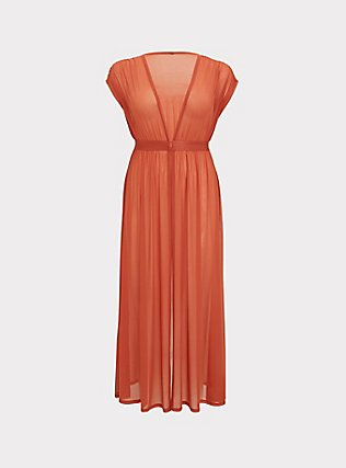 Dusty Red Mesh Maxi Dress Swim Cover Up, DUSTY ROSES, flat