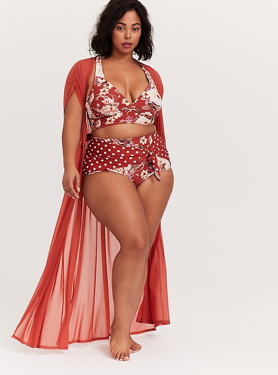 Plus Size Dusty Red Mesh Maxi Dress Swim Cover Up, , hi-res