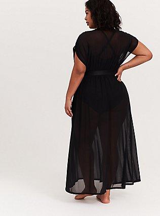 Black Mesh Maxi Dress Swim Cover Up, DEEP BLACK, alternate