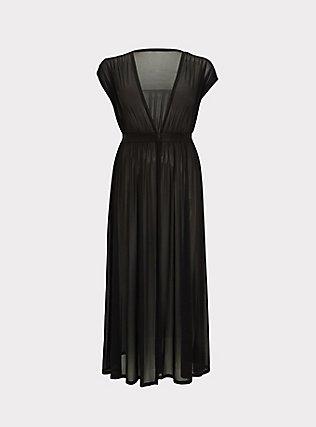 Black Mesh Maxi Dress Swim Cover Up, DEEP BLACK, flat