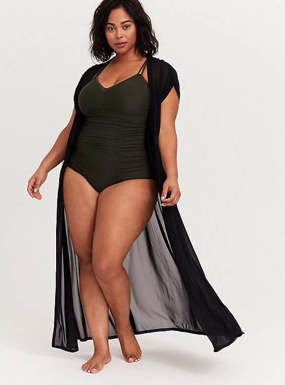 Plus Size Black Mesh Maxi Dress Swim Cover Up, , hi-res