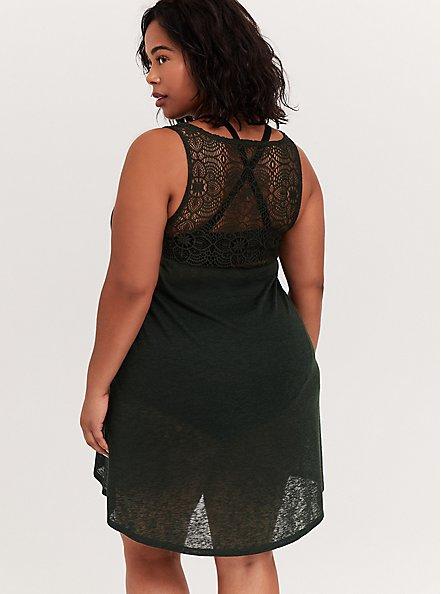 Plus Size Forest Green Slub Crochet Back Dress Swim Cover Up, OLIVE, alternate