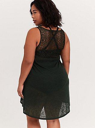 Forest Green Slub Crochet Back Dress Swim Cover Up, OLIVE, alternate