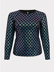 Plus Size Black & Purple Iridescent Mermaid Scale Swim Rash Guard, MULTI, hi-res