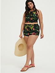 Black Tropical Print Wireless Swim Top, MULTI, alternate