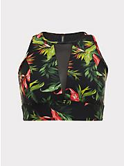 Black Tropical Print Wireless Swim Top, MULTI, hi-res