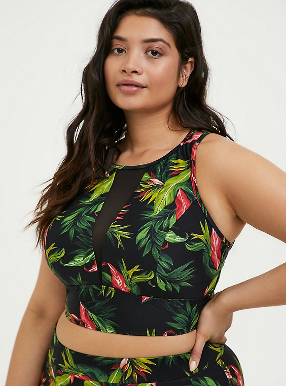 Plus Size Black Tropical Print Wireless Swim Top, , hi-res