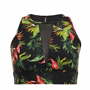 Black Tropical Print Wireless Swim Top