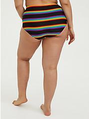 Black Rainbow Stripe High Waist Swim Bottom, MULTI, alternate