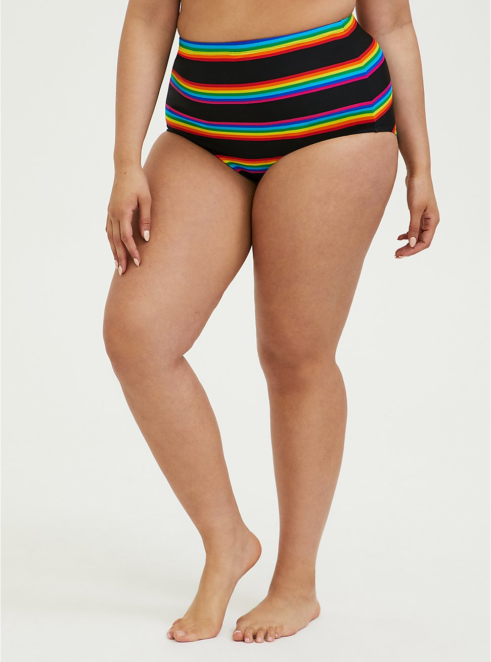 Black Rainbow Stripe High Waist Swim Bottom, MULTI, hi-res