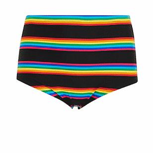 Black Rainbow Stripe High Waist Swim Bottom