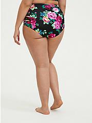Black Floral Lattice Mesh Inset High Waist Swim Bottom, MULTI, alternate