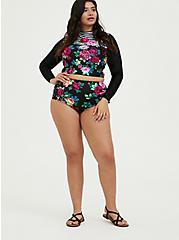 Black Floral Lattice Mesh Inset High Waist Swim Bottom, MULTI, alternate
