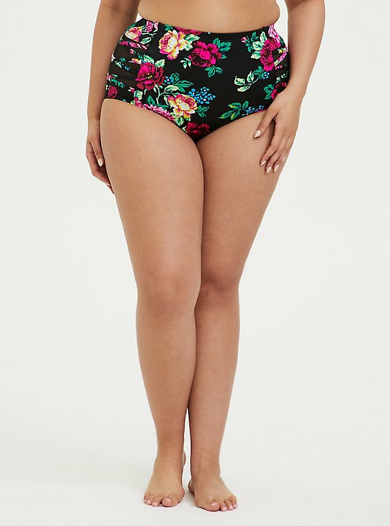 Plus Size Black Floral Lattice Mesh Inset High Waist Swim Bottom, , hi-res