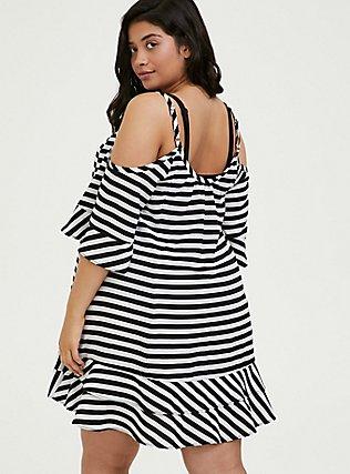 Plus Size Black & White Stripe Crinkled Chiffon Cold Shoulder Dress Swim Cover-Up, MULTI, alternate