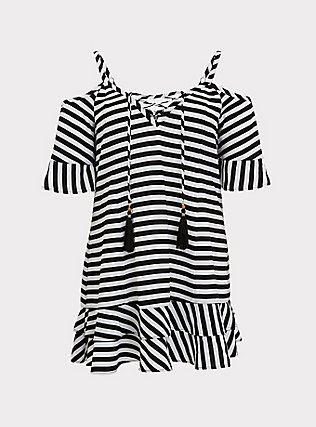 Plus Size Black & White Stripe Crinkled Chiffon Cold Shoulder Dress Swim Cover-Up, MULTI, flat