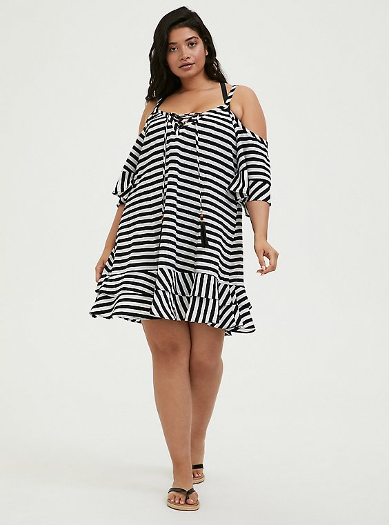 Plus Size Black & White Stripe Crinkled Chiffon Cold Shoulder Dress Swim Cover-Up, , hi-res