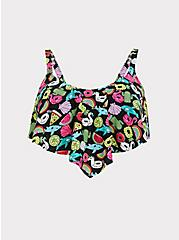 Black Pool Float Print Wireless Flounce Bikini Top, MULTI, hi-res