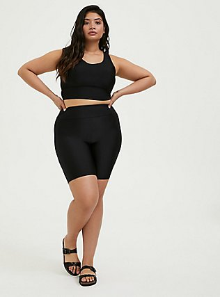 Plus Size Black Lattice Back Wireless Bikini Top, DEEP BLACK, alternate