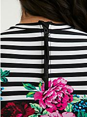 Plus Size Black Floral & Stripe Wireless Crop Rash Guard, MULTI, alternate