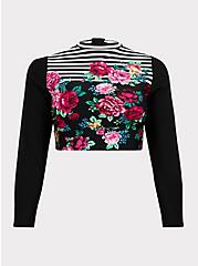 Plus Size Black Floral & Stripe Wireless Crop Rash Guard, MULTI, hi-res