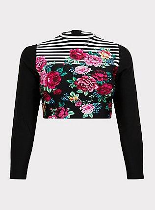 Plus Size Black Floral & Stripe Wireless Crop Rash Guard, MULTI, flat
