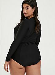 Black Zip Front Rash Guard One-Piece Swimsuit, MULTI, alternate