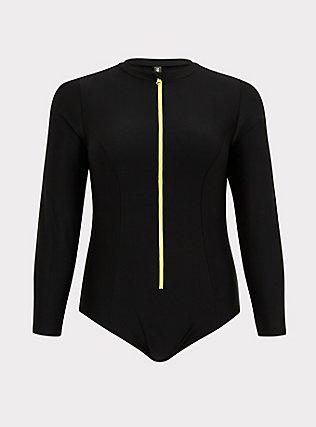 Plus Size Black Zip Front Rash Guard One-Piece Swimsuit, MULTI, flat