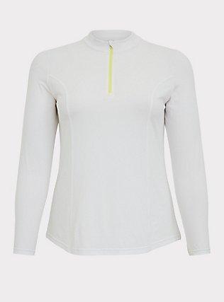 White Zip Front Swim Rash Guard, WHITE, flat