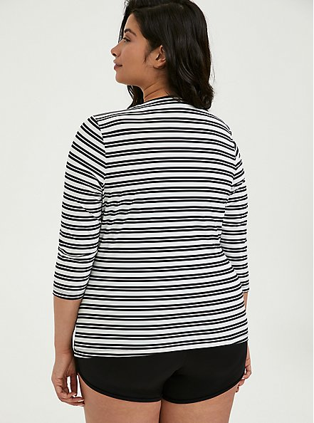 Plus Size Black & White Stripe Layering Swim Top, MULTI, alternate