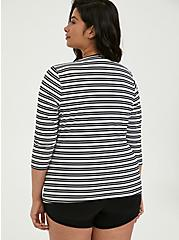 Black & White Stripe Layering Swim Shirt, MULTI, alternate