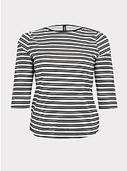 Black & White Stripe Layering Swim Top, MULTI, hi-res