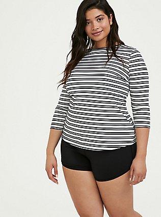 Plus Size Black & White Stripe Layering Swim Top, MULTI, hi-res