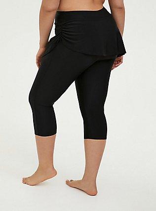 Plus Size Black Ruched Skirt Overlay Capri Swim Legging, DEEP BLACK, alternate
