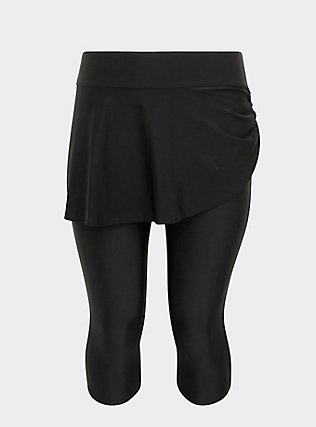 Plus Size Black Ruched Skirt Overlay Capri Swim Legging, DEEP BLACK, flat