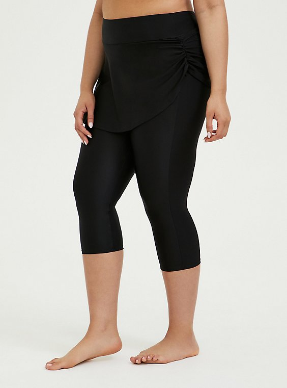 Black Ruched Skirt Overlay Capri Swim Legging, , hi-res