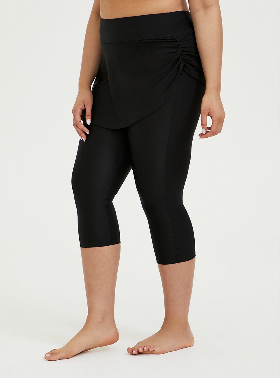 Black Ruched Skirt Overlay Capri Swim Legging, DEEP BLACK, hi-res