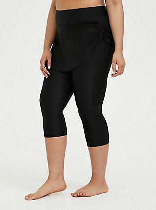 Plus Size Black Ruched Skirt Overlay Capri Swim Legging, DEEP BLACK, hi-res
