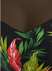 Black Tropical Print Wireless One-Piece Swimsuit, MULTI, alternate