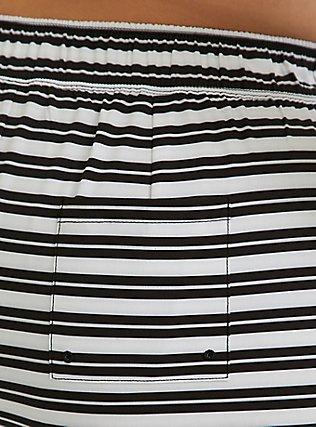 Plus Size Black & White Stripe Swim Board Short, MULTI, alternate