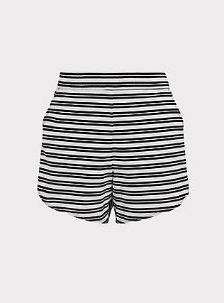 Plus Size Black & White Stripe Swim Board Short, MULTI, flat