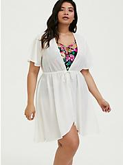Ivory Tie Front Kaftan Swim Cover Up, IVORY, alternate