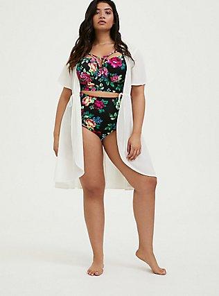 Plus Size Ivory Tie Front Kaftan Swim Cover Up, IVORY, hi-res