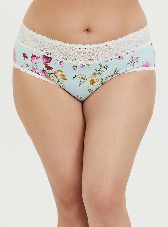 Aqua Floral Wide Lace Cotton Cheeky Panty, MAY FLOWER, hi-res
