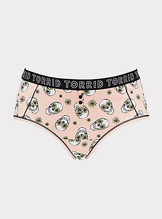 Plus Size Torrid Logo Peach Floral Skull Cotton Cheeky Panty, DAISY SKULLS, flat