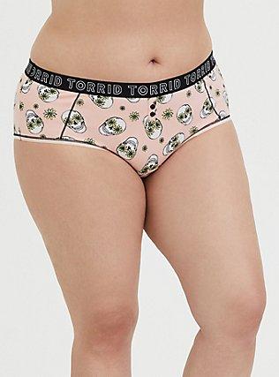 Plus Size Torrid Logo Peach Floral Skull Cotton Cheeky Panty, DAISY SKULLS, hi-res