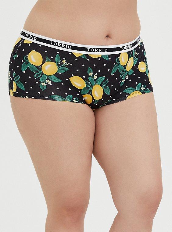 Torrid Logo Polka Dot Lemon Cotton Boyshort Panty, , hi-res
