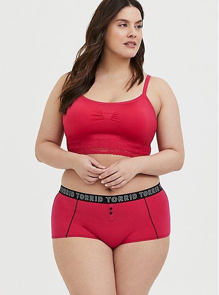 Torrid Logo Crimson Red Cotton Boyshort Panty, HOT PINK, alternate